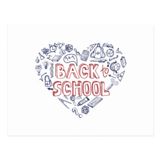 Back to School Supplies Sketchy  Notebook Postcard