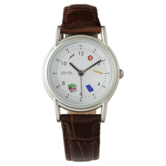 back-to-school teacher's leather watch