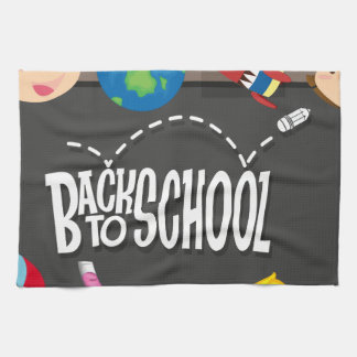 Back to school theme with boy and girls kitchen towel