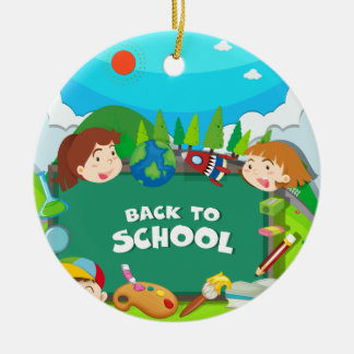 Back to school theme with children ceramic ornament