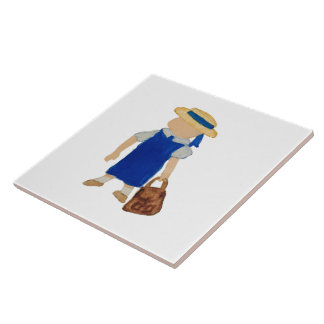 Back to School Water Coloured Girl with Bookbag Ceramic Tiles