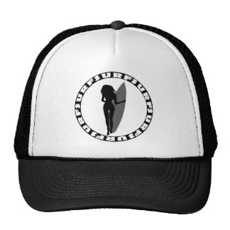 Back View of a Surfer Girl Silhouette Trucker Hat