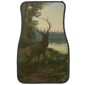 Back view of Elk Looking over a Lake Car Mat