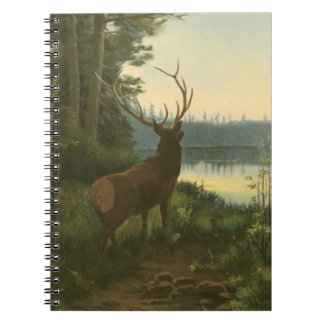 Back view of Elk Looking over a Lake Spiral Note Book
