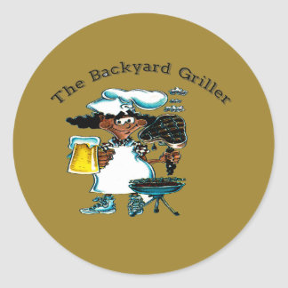 Back Yard Griller Dad Classic Round Sticker