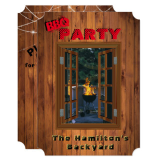 Back Yard Rustic BBQ Barbecue Potluck Party Card