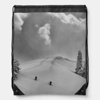 Backcountry Ski Climbers in fresh powder Drawstring Bag