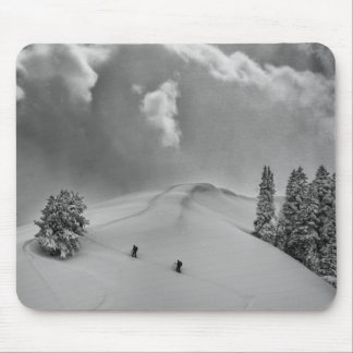 Backcountry Ski Climbers in fresh powder Mouse Pad