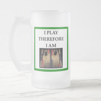 backgammon frosted glass beer mug