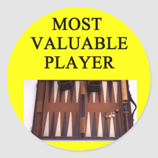 BACKGAMMON most valuable player Classic Round Sticker