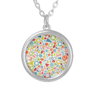 Background Christmas Silver Plated Necklace