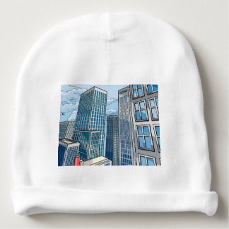 Background City Buildings Scene Baby Beanie