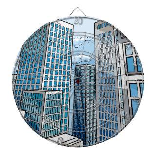 Background City Buildings Scene Dartboard