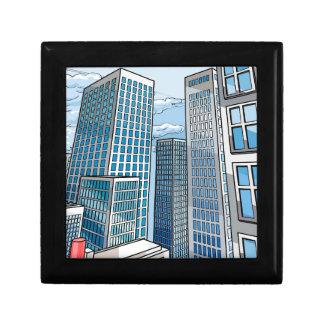 Background City Buildings Scene Gift Box