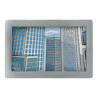Background City Buildings Scene Rectangular Belt Buckles