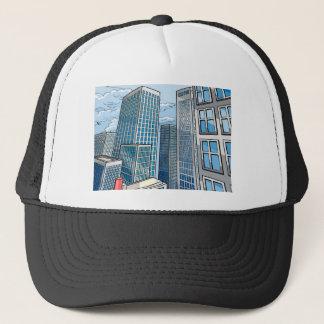 Background City Buildings Scene Trucker Hat
