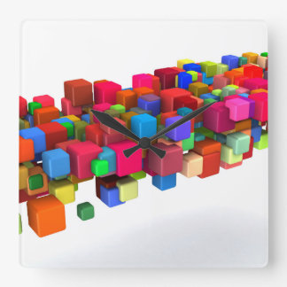 Background Design with Colorful Rainbow Blocks Clock