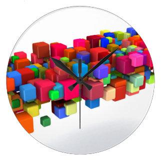 Background Design with Colorful Rainbow Blocks Clocks