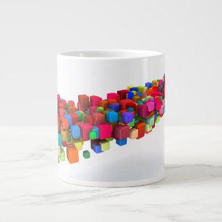 Background Design with Colorful Rainbow Blocks Large Coffee Mug