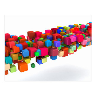 Background Design with Colorful Rainbow Blocks Postcard