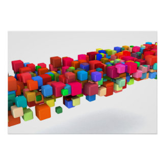 Background Design with Colorful Rainbow Blocks Poster
