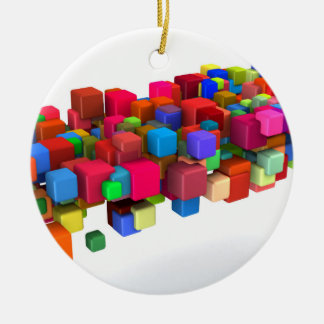 Background Design with Colorful Rainbow Blocks Round Ceramic Ornament