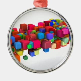 Background Design with Colorful Rainbow Blocks Silver-Colored Round Ornament