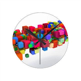 Background Design with Colorful Rainbow Blocks Wallclock
