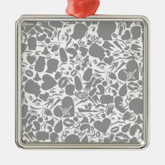 Background of a part of a body Silver-Colored square ornament