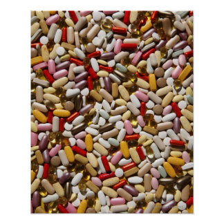 Background of colourful multi-vitamin pills, poster