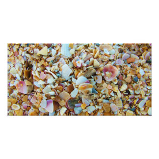 Background of Small Colorful Seashells Personalized Photo Card