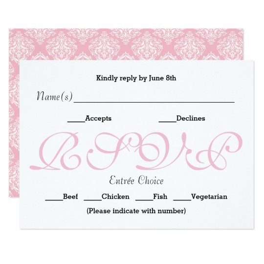 Background Pink - RSVP Reception Response Card