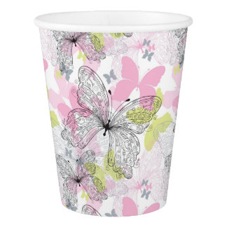 Background with butterfly paper cup