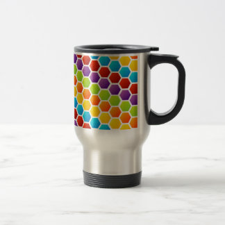 Background with colorful hexagon travel mug