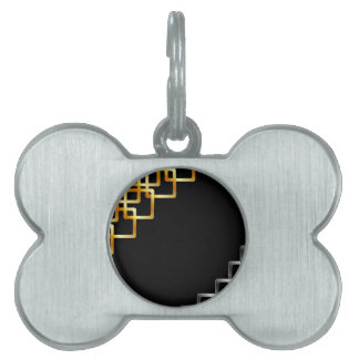 Background with metallic squares pet name tags