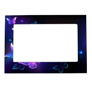 Background with Night Butterflies Magnetic Frame
