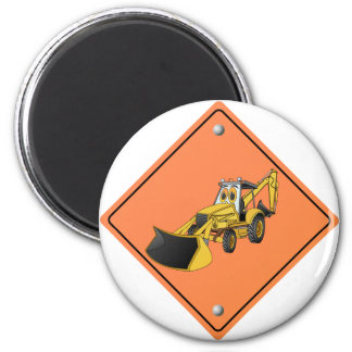 Backhoe Cartoon Construction Sign 2 Inch Round Magnet