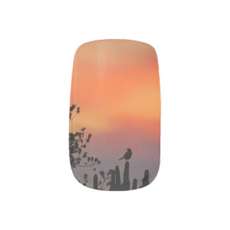Backlit Bird Against an Orange Sunset Sky Nail Art