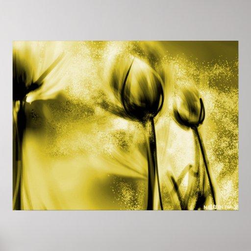 Backlit Dandelions in Antique Poster