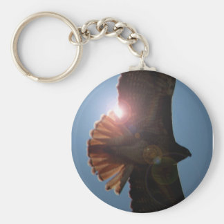 Backlit Hawk Basic Round Button Keychain