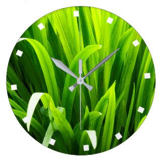 Backlit Leaves in Garden Large Clock