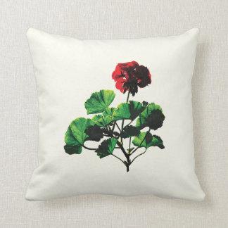 Backlit Red Geranium Throw Pillow
