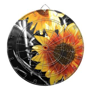 Backlit Sunflower with B&W Dartboard