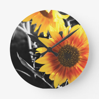 Backlit Sunflower with B&W Round Clock