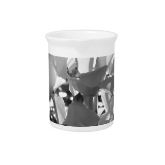 Backlits white cyclamen flowers on dark background pitcher