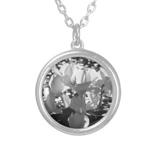 Backlits white cyclamen flowers on dark background silver plated necklace