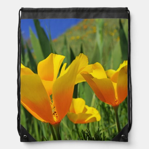 BACKPACK Drawstring Bright Sunny Poppies Flowers