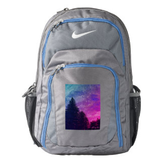 "Backpack pink ""Golden Sunset Pines"" by All Joy Art"