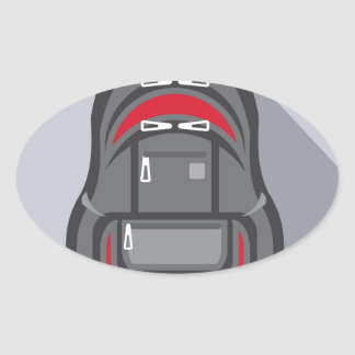 Backpack vector oval sticker