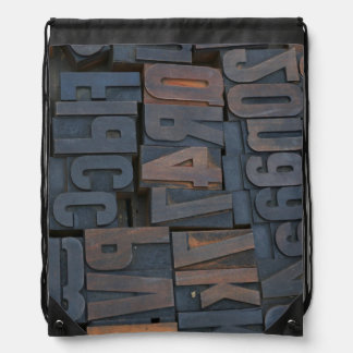 Backpack with typography letterpress alphabet